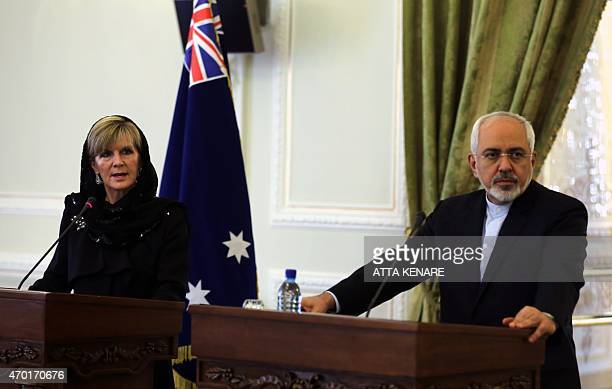 Iranian Foreign Minister Mohammad Javad Zarif and his Australian counterpart Julie Bishop hold a press conference following a meeting in Tehran on...