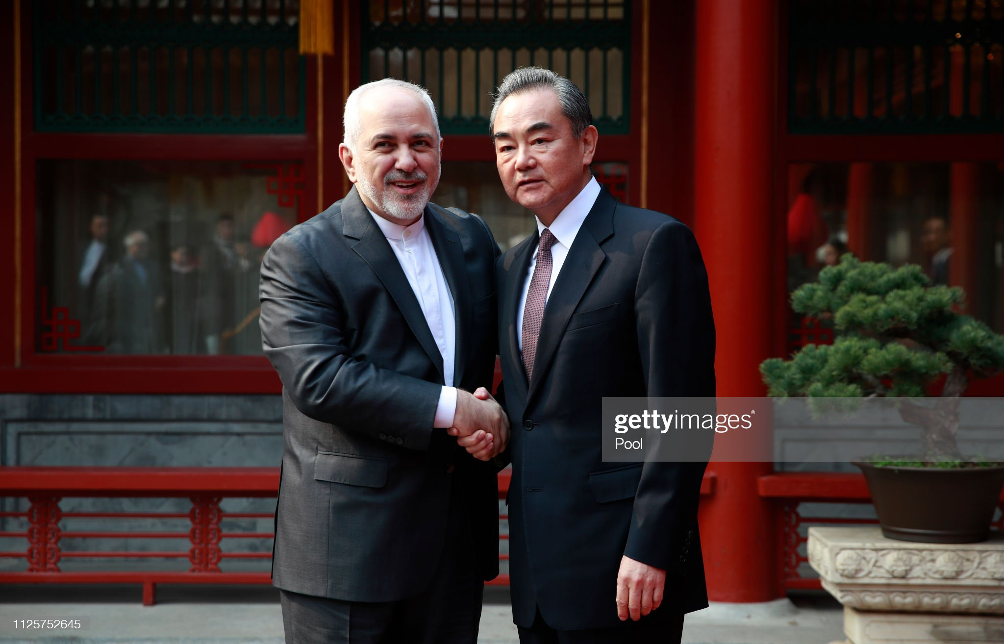 Iranian Foreign Minister Mohammad Javad Zarif Meets Chinese Counterpart Wang Yi : News Photo