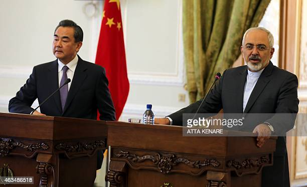 Iranian Foreign Minister Mohammad Javad Zarif and his Chinese counterpart Wang Yi hold a press conference following a meeting on February 15 2015 in...