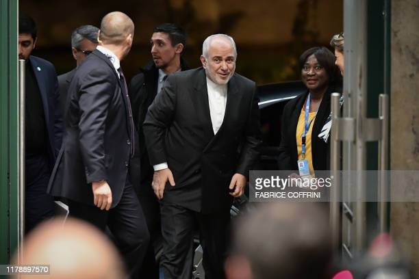 Iranian Foreign Minister Mohammad Javad Zarif arrives ahead of a meeting of the Syria constitutionwriting committee on October 29 2019 at the United...