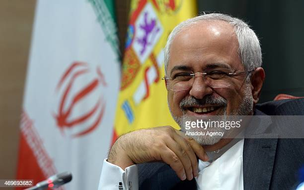 Iranian Foreign Minister Mohammad Javad Zarif attends a joint press conference with Spain's Foreign Minister Jose Manuel Garcia Margallo after their...