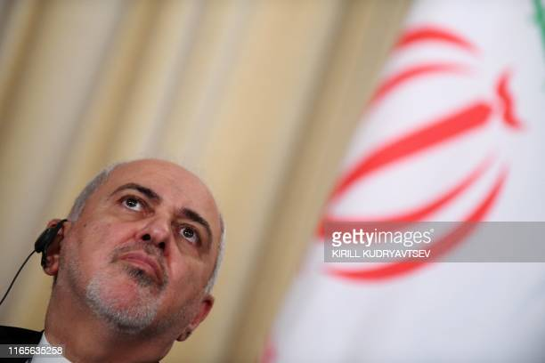 Iranian Foreign Minister Mohammad Javad Zarif attends a press conference with his Russian counterpart during a meeting in Moscow on September 2 2019
