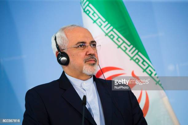 Iranian Foreign Minister Mohammad Javad Zarif is pictured during a news conference held with German Vice Chancellor and Foreign Minister Sigmar...