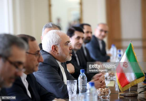 Iranian Foreign Minister Mohammad Javad Zarif meets Foreign Minister of France JeanYves Le Drian in Tehran Iran on March 5 2018