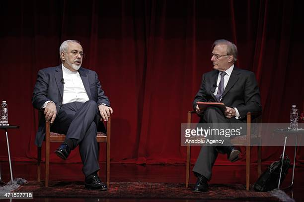 Iranian Foreign Minister Mohammad Javad Zarif speaks at New America Foundation which is an American nonprofit nonpartisan public policy institute and...