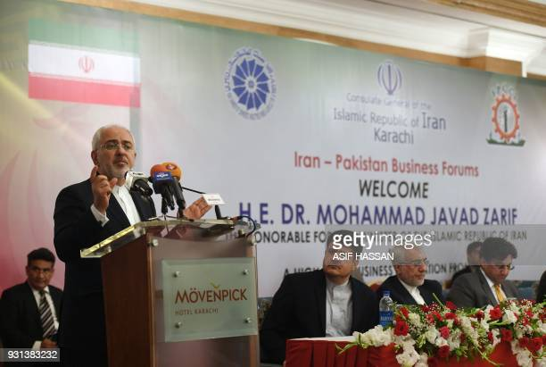 Iranian Foreign Minister Mohammad Javad Zarif speaks at the IranPakistan Business Forums in Karachi on March 13 2018 Zarif is on threeday official...