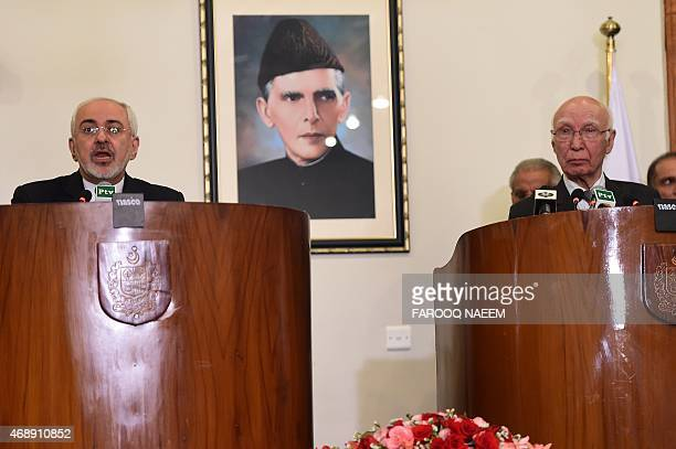 Iranian Foreign Minister Mohammad Javad Zarif speaks during a joint press briefing with Advisor to Pakistani Prime Minister on Foreign Affairs Sartaj...