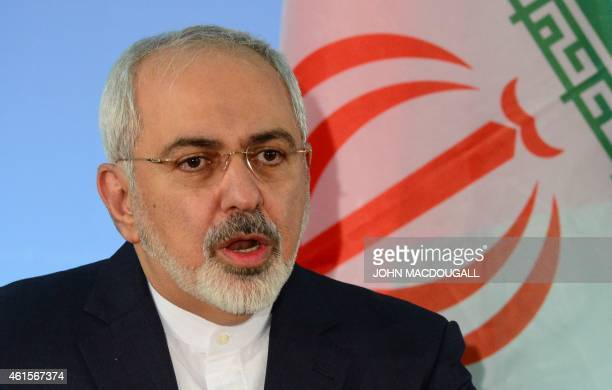 Iranian foreign minister Mohammad Javad Zarif speaks during a press conference with his German counterpart FrankWalter Steinmeier on January 15 2015...