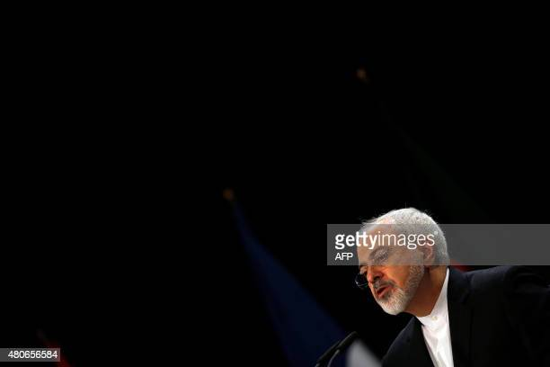 Iranian Foreign Minister Mohammad Javad Zarif speaks during a press conference on Iran nuclear talks deal at Austria International Centre in Vienna...