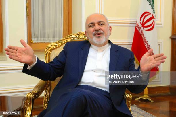 Iranian Foreign Minister Mohammad Javad Zarif speaks during the Asahi Shimbun interview on October 22 2018 in Tehran Iran
