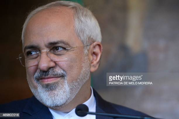 Iranian foreign minister Mohammad Javad Zarif takes part in a press conference at Necessidades Palace in Lisbon on April 15 2015 after a meeting with...