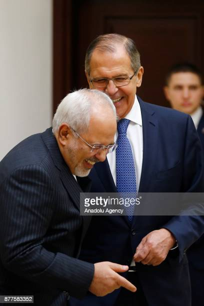 Iranian Foreign Minister Mohammad Javad Zarif talks with Foreign Affairs Minister of Russia Sergey Lavrov ahead of the trilateral summit to discuss...