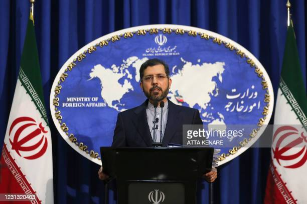 Iranian foreign ministry spokesman Saied Khatibzadeh gestures during a press conference in Tehran on February 22, 2021. - Iran hailed as a...