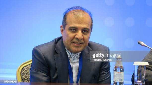 Iranian Foreign Ministry's senior advisor for political issues Ali Asgar Haji holds a press conference after attending the 13th guarantors meeting on...