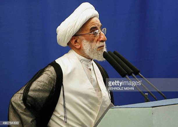 Iranian Guardian Council head Ahmad Jannati delivers the Friday prayers sermon at Tehran University on October 16 2009 Jannati warned the opposition...