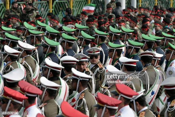 Iranian guards march during the rally to mark the 38th anniversary of the Islamic revolution at Azadi Square in Tehran Iran on February 10 2017