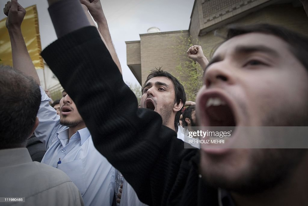 Iranian hardline students chant anti-Bahraini and anti-Saudi governments slogans during a protest in front of the Saudi Arabian embassy in Tehran on April 11, 2011, to show support to Bahrain's anti-regime protests by the mainly-Shiite opposition that has rocked the tiny Gulf state for nearly a month.