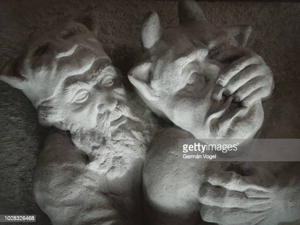iranian hero rostam scuffle with white demon (div-e sefid) from the shahname epic by ferdowsi - tous, iran - vogel stock pictures, royalty-free photos & images