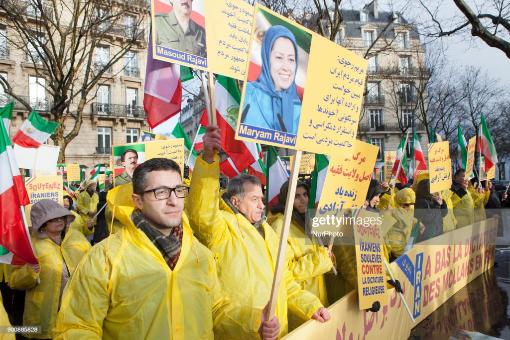 Iranian in Paris demonstrate for supporting protests in Iran, near by Iranian Embassy in Paris on Wednesday January 03, 2018. There have been widespread of demonstrations in Iran for regime change.