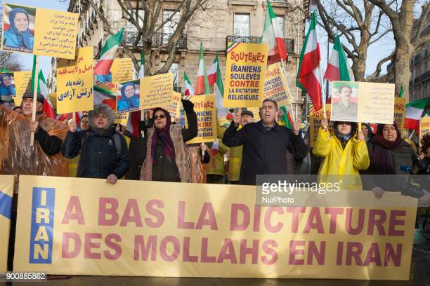 Iranian in Paris demonstrate for supporting protests in Iran near by Iranian Embassy in Paris on Wednesday January 03 2018 There have been widespread...