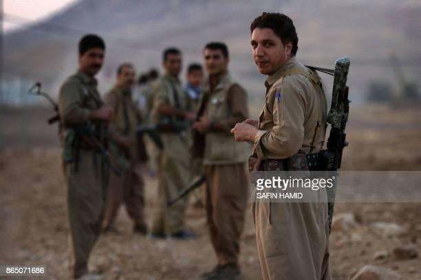 Iranian Kurdish Peshmerga members of the Iranian Kurdistan Democratic Party take part in routine military exercise in Koya 100 kms east of Arbil the...