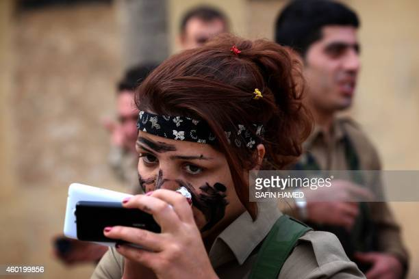 Iranian Kurdish Peshmerga members of the Kurdistan Democratic Party of get ready during routine military exercises in Koya 100 kms east of Arbil the...