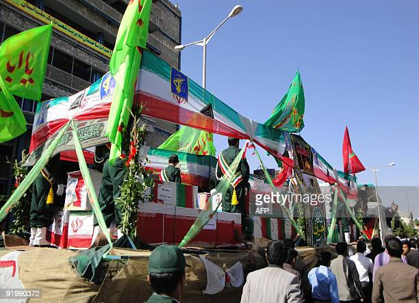 Iranian march during the funeral of Iran's elite Revolutionary Guards and local tribesmen in Zahedan near the Pakistani border on October 19 2009...