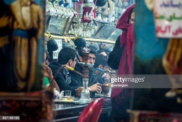 Iranian men in a traditional tea house, Isfahan, Iran