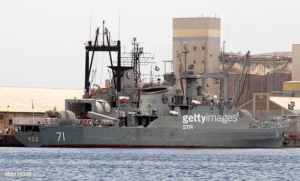 Iranian military ships frigate Alvand and light replenishment ship Bushehr are seen docked for refueling on May 6 2014 in Port Sudan 250 kilometres...