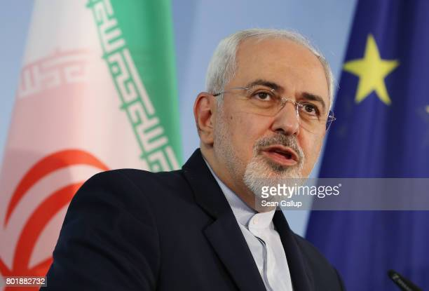Iranian Minister of Foreign Affairs Mohammad Javad Zarif and German Foreign Minister Sigmar Gabriel speak to the media following talks on June 27...