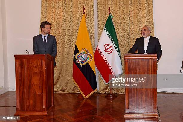 Iranian Minister of Foreign Affairs Mohammad Javad Zarif speaks during a press conference next to his Ecuadorean counterpart Guillaume Long as part...