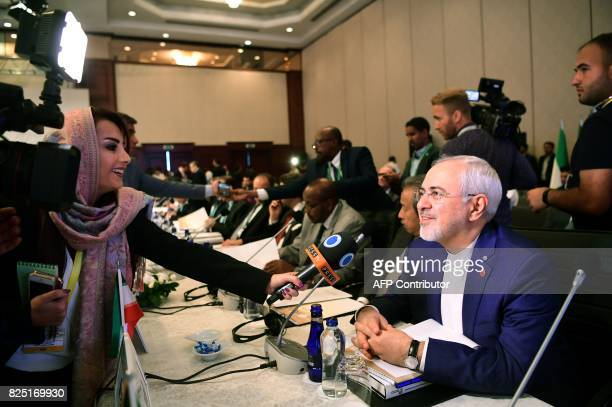 Iranian Minister of Foreign Affairs Mohammad Javad Zarif speaks to media as he attends the Executive Committee Meeting of Organization of Islamic...
