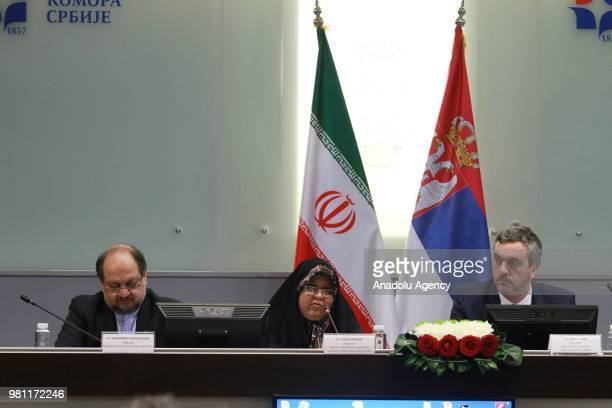 Iranian Minister of Industry Mine and Trade Mohammad Shariatmadari and Minister of Trade Tourism and Telecommunications of Serbia Rasim Ljajic attend...