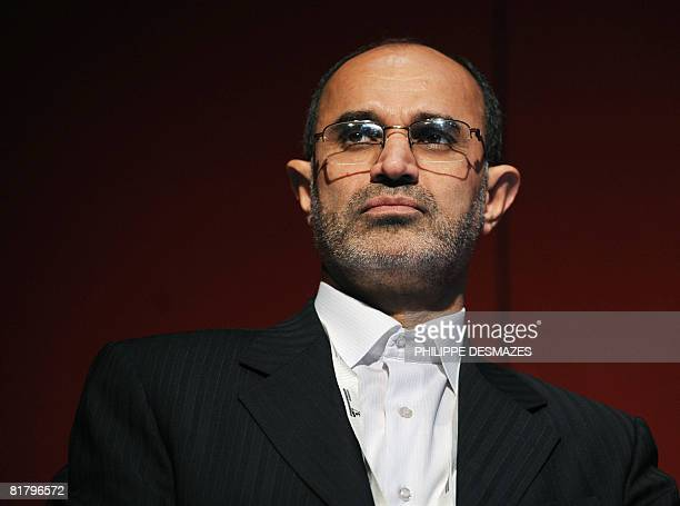 Iranian Minister of Petroleum GholamHossein Nozari speaks during a plenary session at the 19th World Petroleum Congress in Madrid on July 2 2008 OPEC...