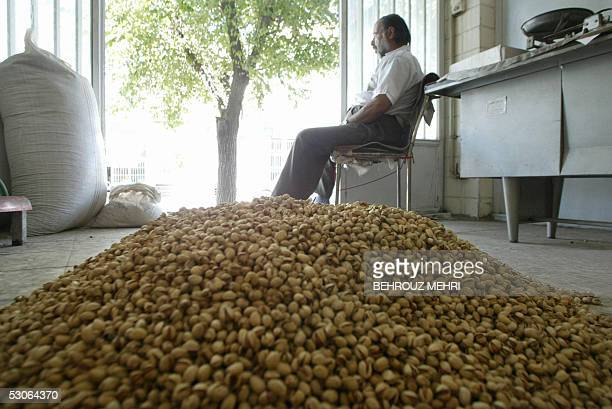 Iranian Mohammad Reza Saberisits by a mound of pistachios in his shop in Rafsanjan in southeast of Iran 12 June 2005 Presidential candidate Ali Akbar...