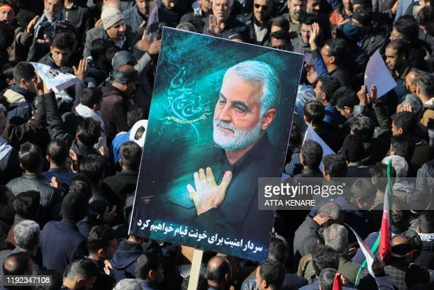 Iranian mourners gather during the final stage of funeral processions for slain top general Qasem Soleimani in his hometown Kerman on January 7 2020...