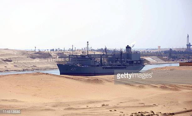 Iranian naval support ship Kharg transits through the Suez Canal on February 22 2011 bound along with patrol frigate Alvand for the Mediterranean Sea...