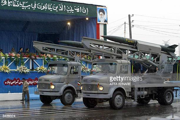 Iranian Nazeat 6 groundtoair missiles are displayed during a military parade marking Army Day in front of Iranian President Mohammad Khatami and...