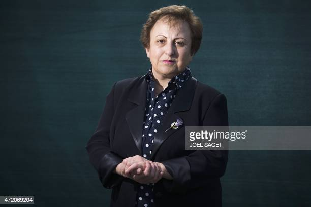 Iranian Nobel Peace laureate Shirin Ebadi poses during the World Press Freedom Day and the celebration of the 30th anniversary of Reporters sans...