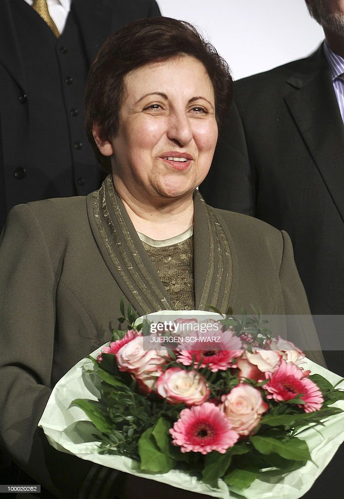 Iranian Nobel Peace Prize winner and lawyer Shirin Ebadi poses after receiving the 'International Democracy Prize' in the western German city of Bonn. Ebadi was honoured with the award for her efforts for democracy in Iran.