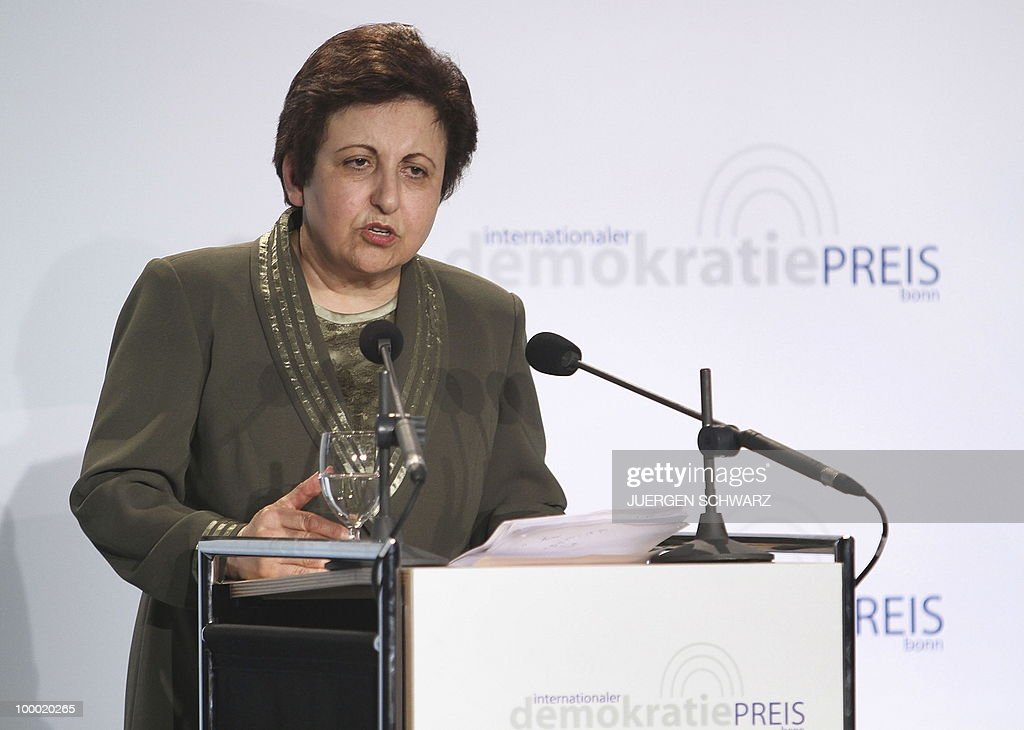 Iranian Nobel Peace Prize winner and lawyer Shirin Ebadi speaks after receiving the 'International Democracy Prize' in the western German city of Bonn. Ebadi was honoured with the award for her efforts for democracy in Iran.