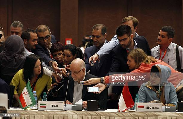 Iranian Oil Minister Bijan Zanganeh attends the 15th International Energy Forum in Algiers on September 27 on the eve of an informal OPEC meeting the...
