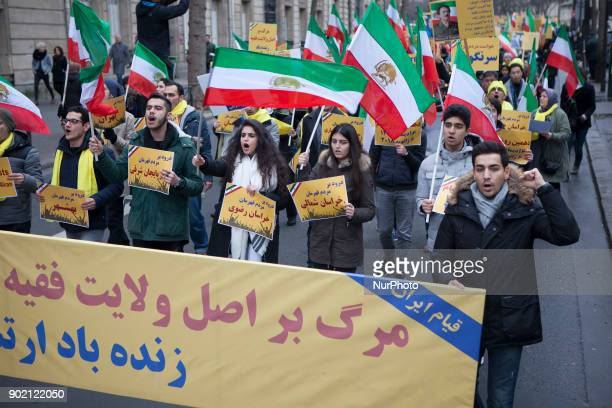 Iranian Opposition NCRI demonstrate near Iranian Embassy in Paris on January 6 in support protests in Iran Demonstrators joined a worldwide call by...