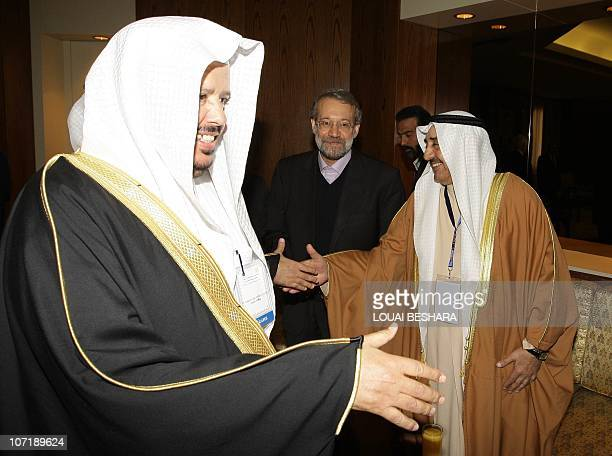 Iranian Parliament Speaker Ali Larijani arrives with the speaker of the Kuwaiti National Assembly Jassem alKharafi and the chairman of the Saudi...