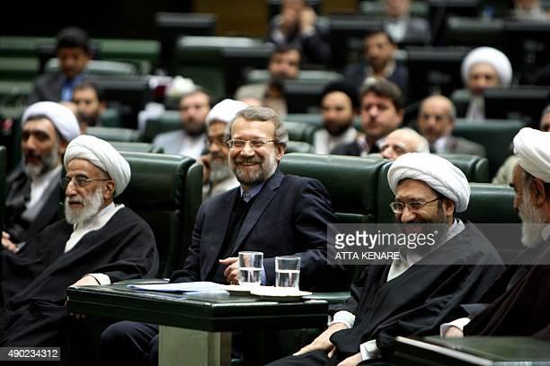 Iranian Parliament Speaker Ali Larijani Chief Justice Hojatoleslam Sadegh Ardeshir Larijani and the head of the Guardians Council Ahmad Jannati...
