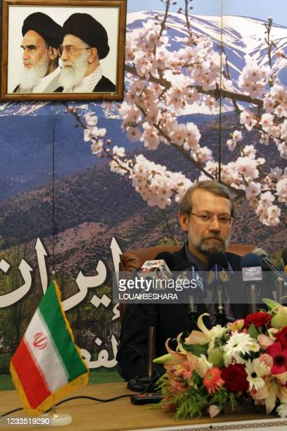 Iranian Parliament Speaker Ali Larijani holds a press conference at the Iranian embassy in Damascus at the end of his visit to Syria on July 01,...