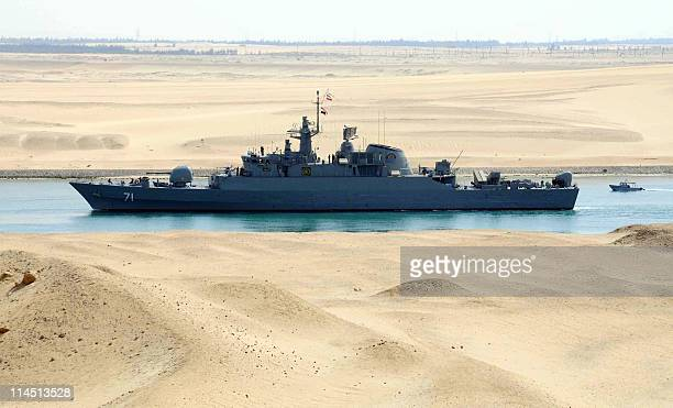 Iranian patrol frigate Alvand transits through the Suez Canal on February 22 2011 bound along with support ship Kharg for the Mediterranean Sea on a...