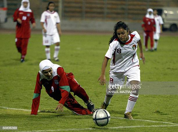 Iranian player Madineh Din Mohammadi fights for the ball against Jordanian player Stephanie Alnaber during their 1st WAFF Women's Championship...