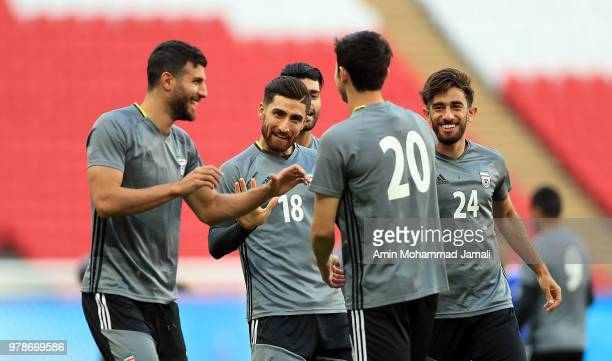 Iranian Players in action during a training session before the group B match between Iran and Spain FIFA World Cup Russia 2018 at Kazan Arena on June...