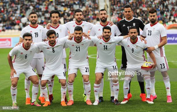 Iranian players pose for team photo during the International Friendly between Iran and Sierra Leone at Azadi Stadium on March 17 2018 in Tehran Iran